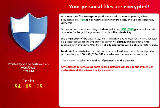 Encrypted files warning